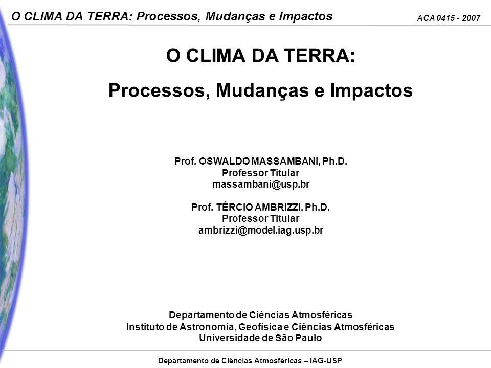 O CLIMA DA TERRA: Processos, Mudanças e Impactos