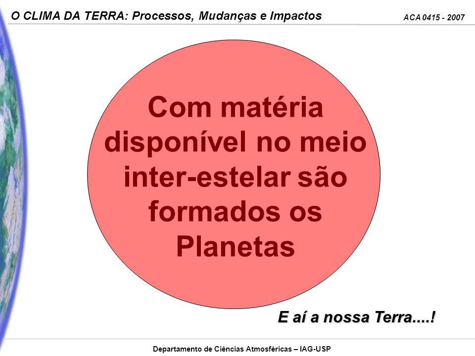 Com matéria disponível no meio inter-estelar são formados os Planetas