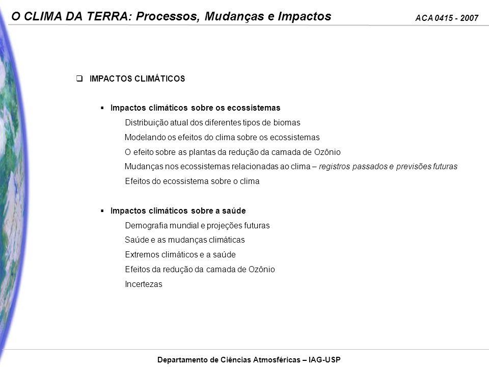 IMPACTOS CLIMÁTICOS Impactos climáticos sobre os ecossistemas. Distribuição atual dos diferentes tipos de biomas.