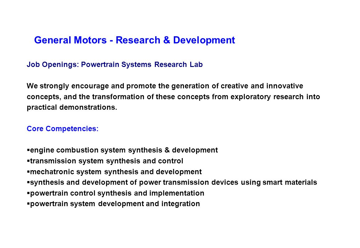 General Motors - Research & Development