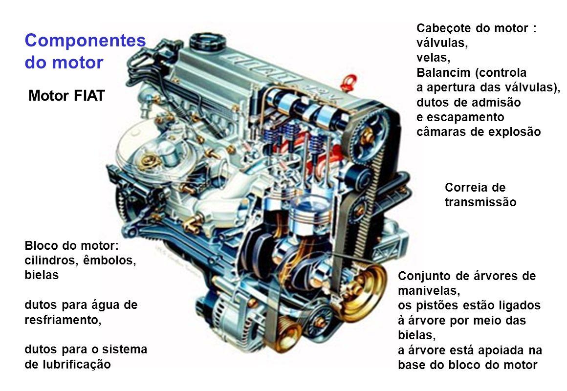 Componentes do motor Motor FIAT Cabeçote do motor : válvulas, velas,