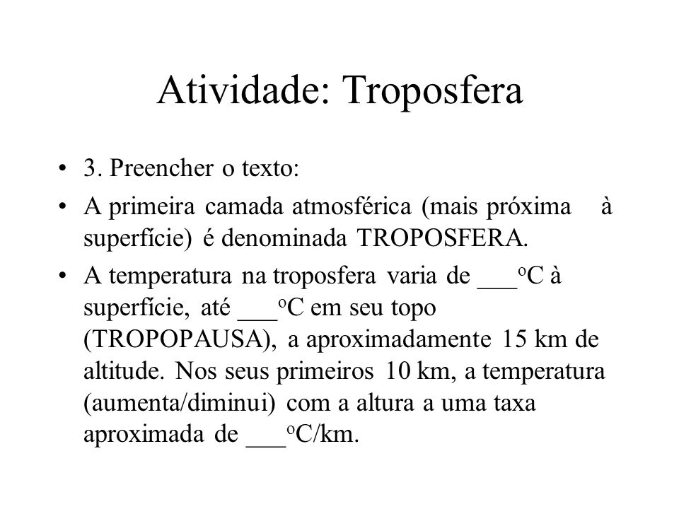Atividade: Troposfera