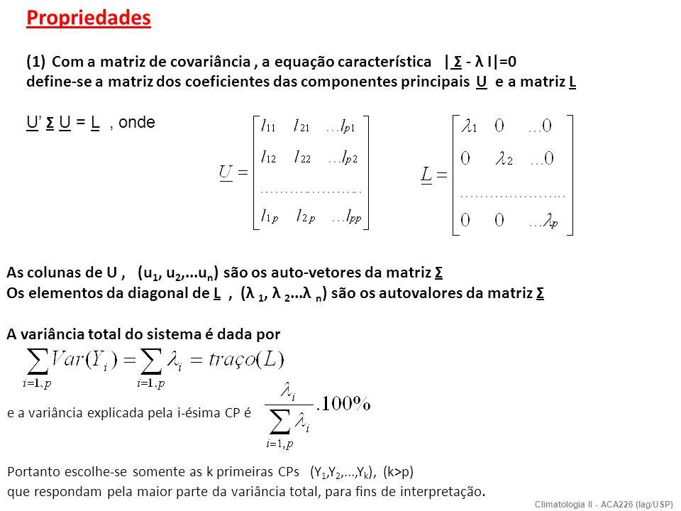 Propriedades Com a matriz de covariância , a equação característica | Σ - λ I|=0.
