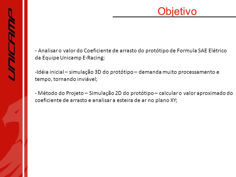 Objetivo- Analisar o valor do Coeficiente de arrasto do protótipo de Formula SAE Elétrico da Equipe Unicamp E-Racing;