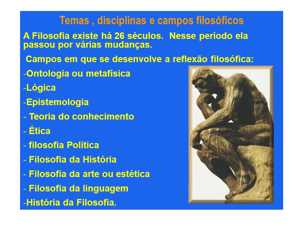 Temas , disciplinas e campos filosóficos