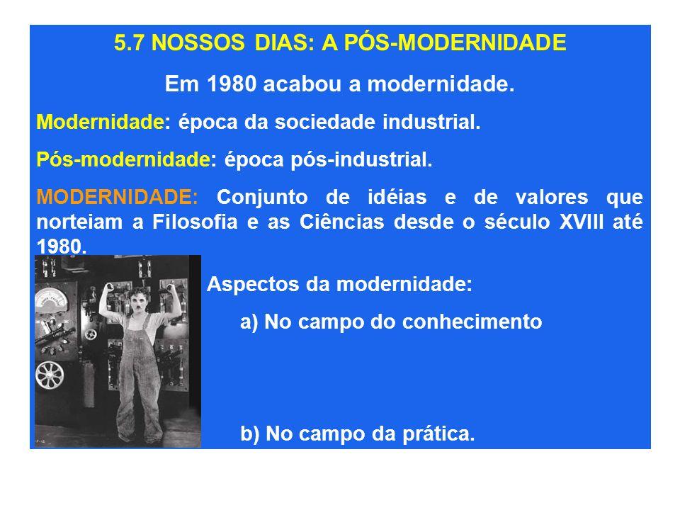 5.7 NOSSOS DIAS: A PÓS-MODERNIDADE Em 1980 acabou a modernidade.