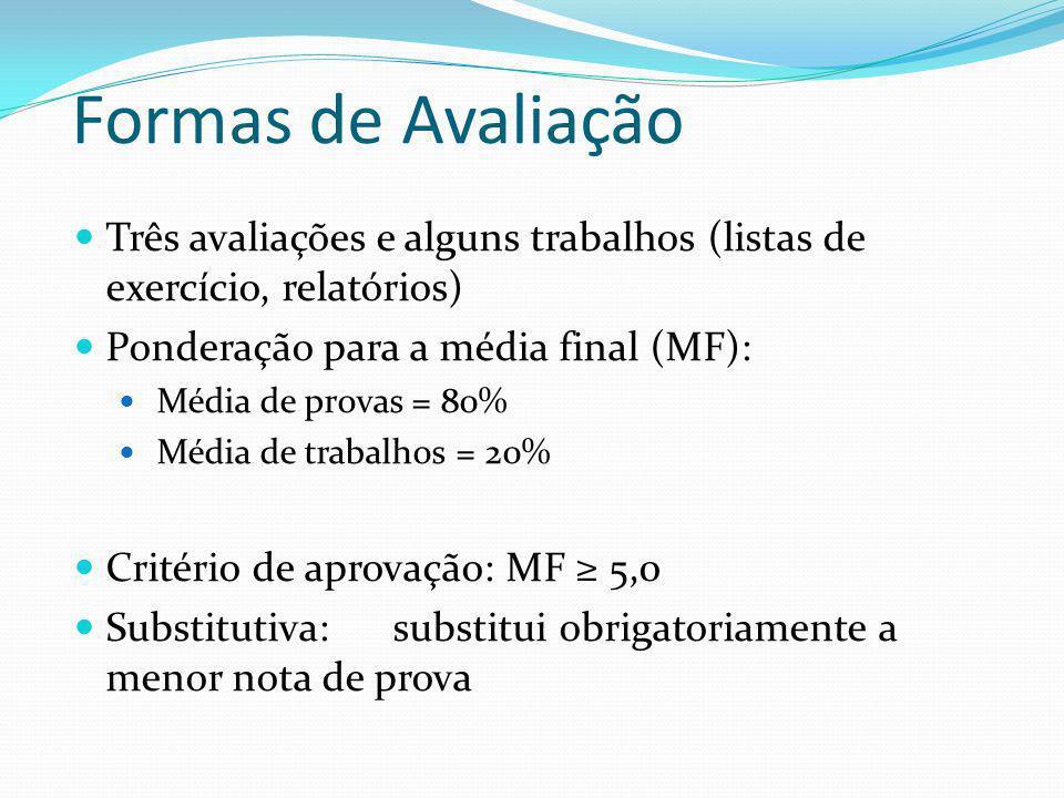 Formas de Avaliação Três avaliações e alguns trabalhos (listas de exercício, relatórios) Ponderação para a média final (MF):