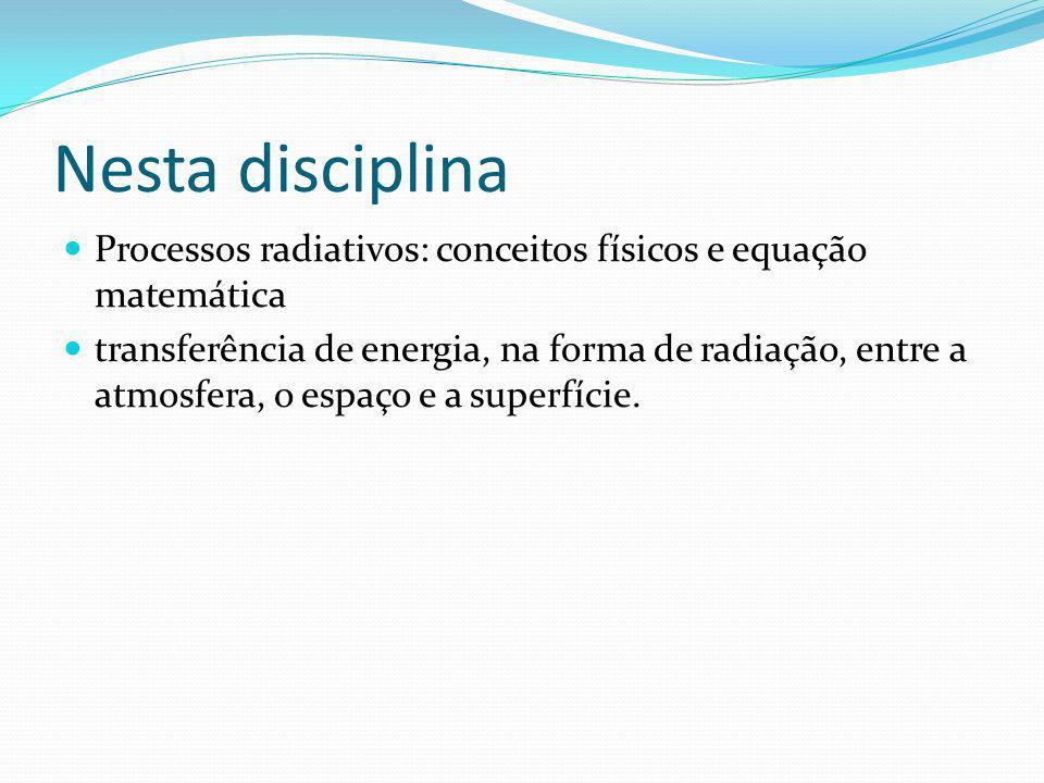 Nesta disciplina Processos radiativos: conceitos físicos e equação matemática.