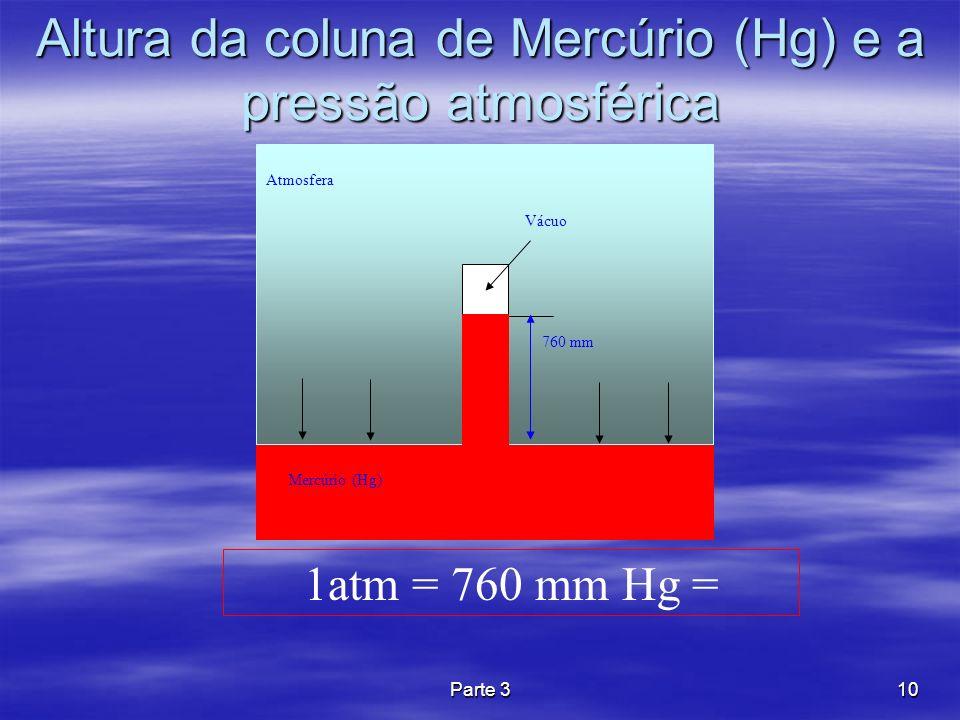 Altura da coluna de Mercúrio (Hg) e a pressão atmosférica