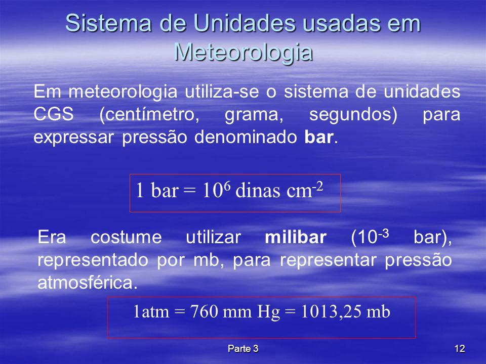 Sistema de Unidades usadas em Meteorologia