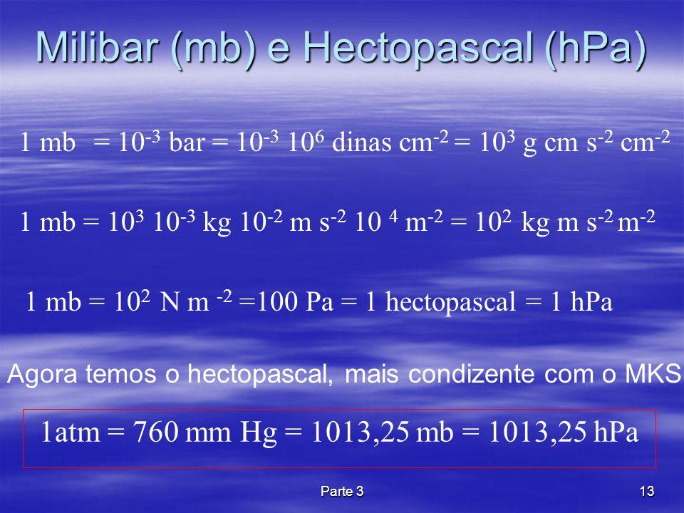 Milibar (mb) e Hectopascal (hPa)