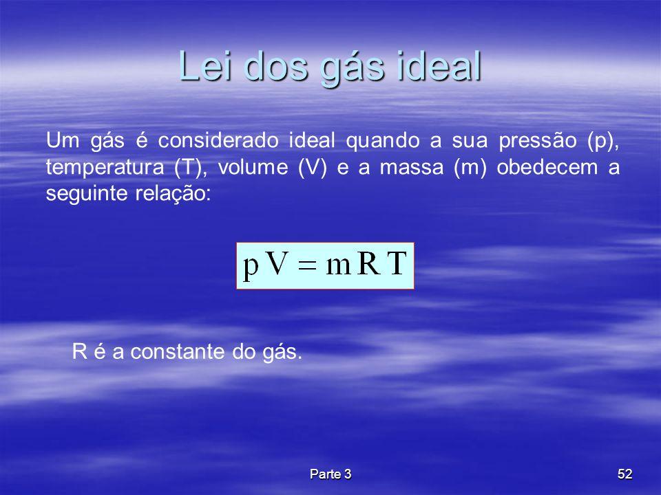 Lei dos gás ideal Um gás é considerado ideal quando a sua pressão (p), temperatura (T), volume (V) e a massa (m) obedecem a seguinte relação: