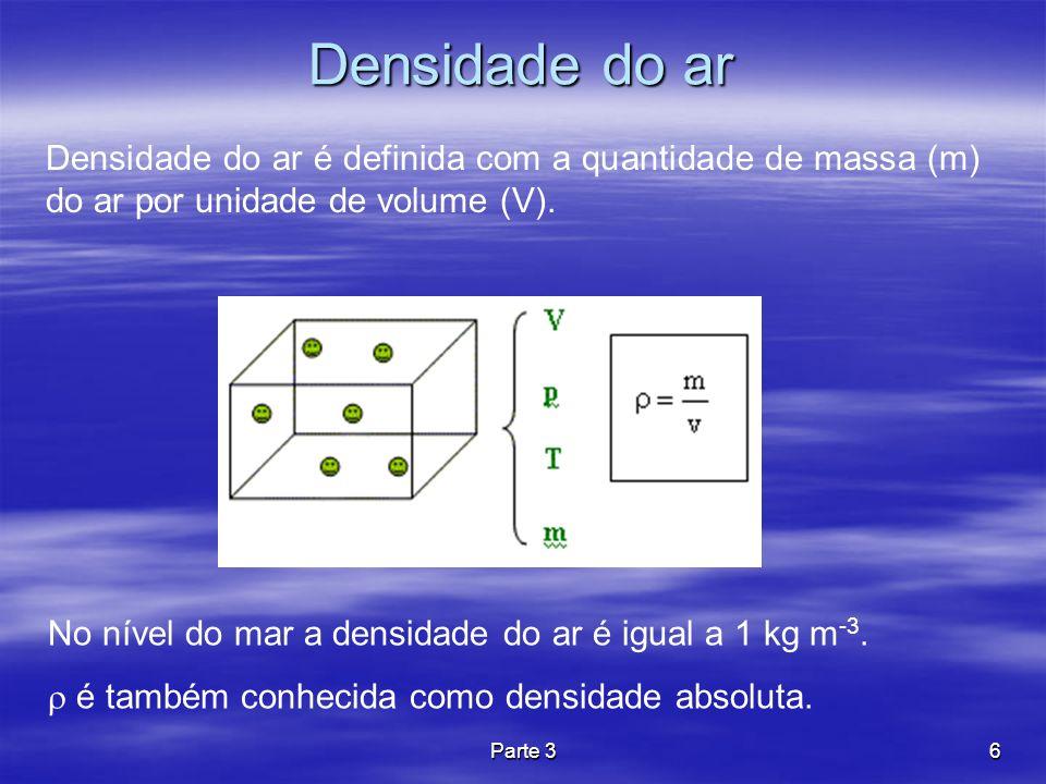 Densidade do ar Densidade do ar é definida com a quantidade de massa (m) do ar por unidade de volume (V).