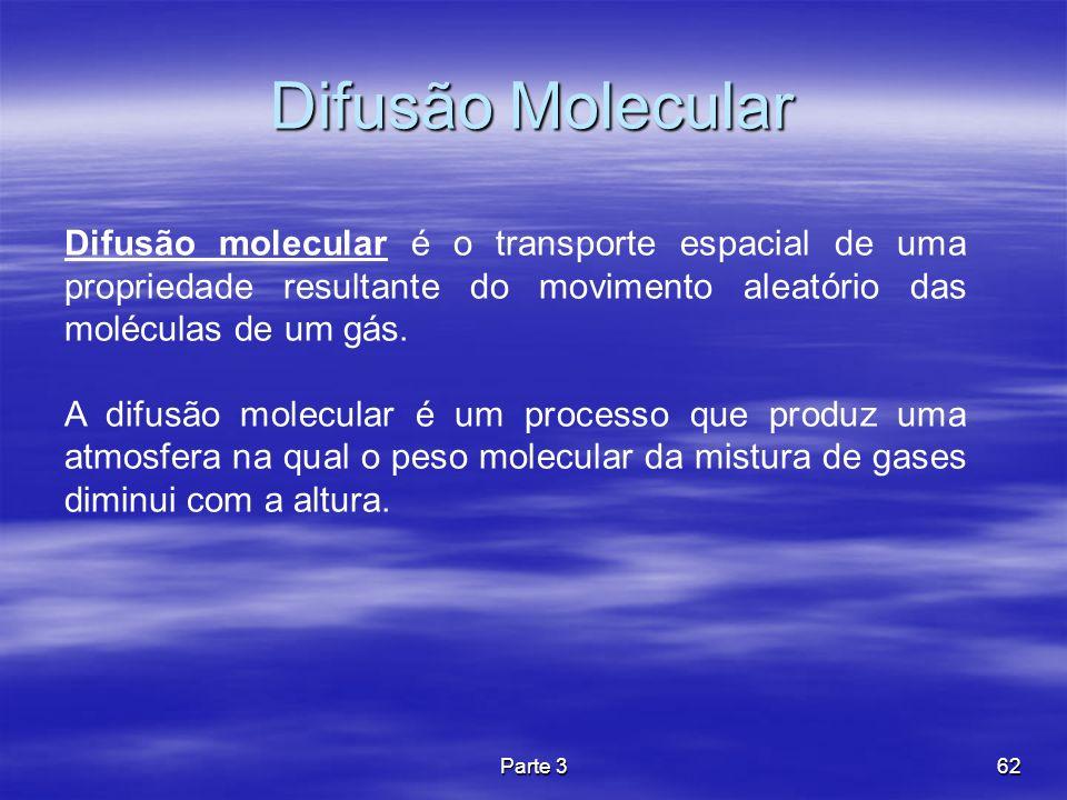 Difusão Molecular Difusão molecular é o transporte espacial de uma propriedade resultante do movimento aleatório das moléculas de um gás.
