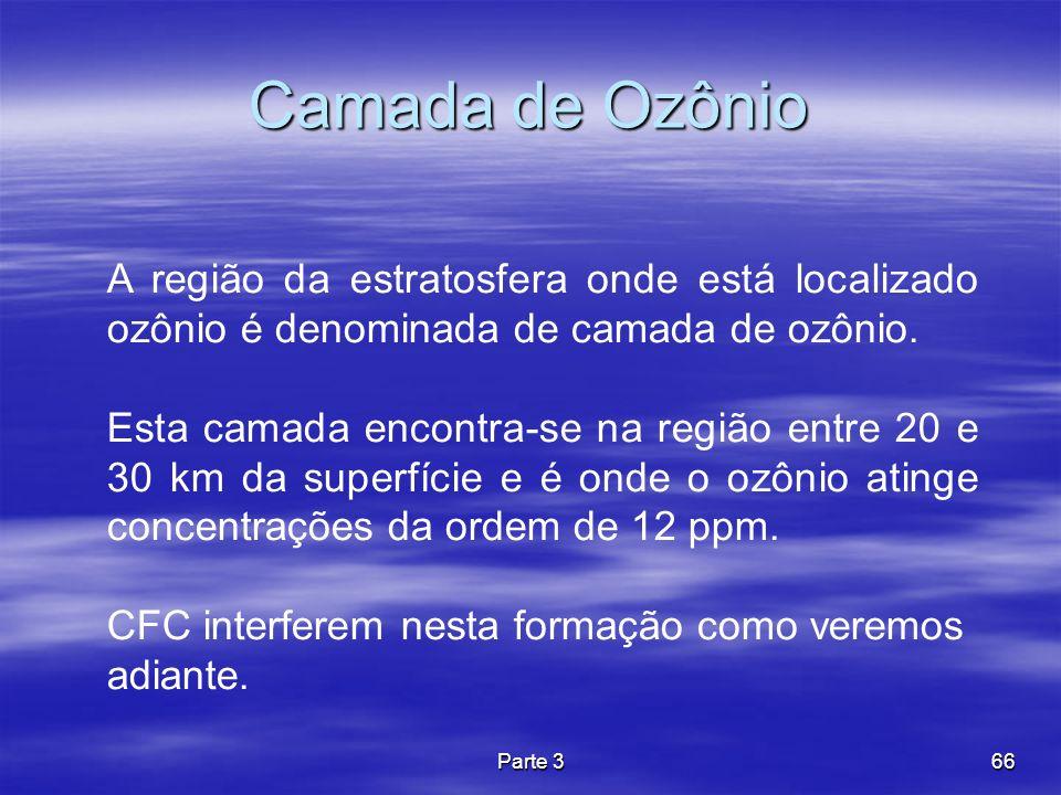 Camada de Ozônio A região da estratosfera onde está localizado ozônio é denominada de camada de ozônio.