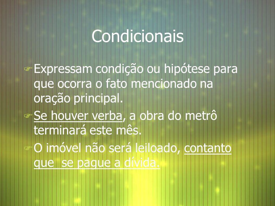 Condicionais Expressam condição ou hipótese para que ocorra o fato mencionado na oração principal.