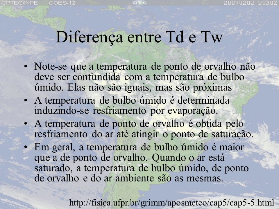 Diferença entre Td e Tw