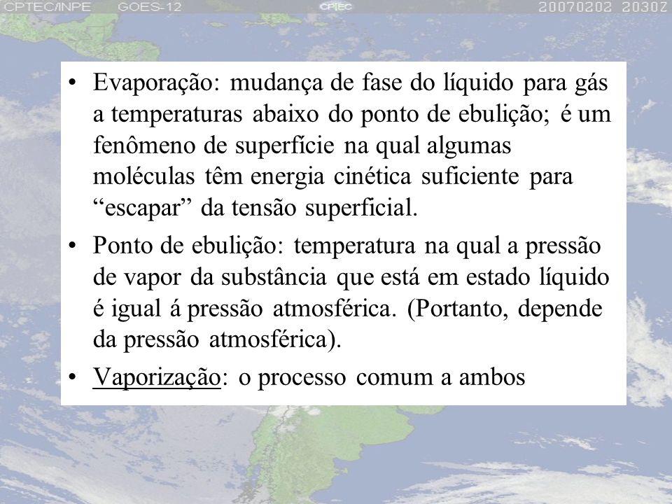 Evaporação: mudança de fase do líquido para gás a temperaturas abaixo do ponto de ebulição; é um fenômeno de superfície na qual algumas moléculas têm energia cinética suficiente para escapar da tensão superficial.