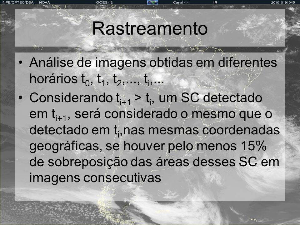 Rastreamento Análise de imagens obtidas em diferentes horários t0, t1, t2,..., ti,...
