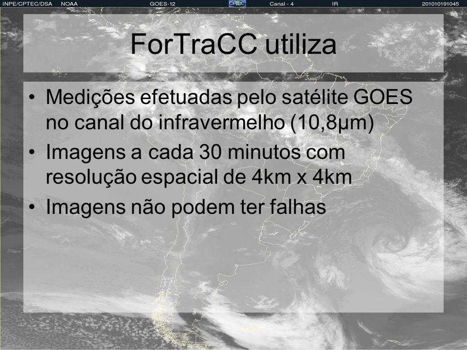 ForTraCC utiliza Medições efetuadas pelo satélite GOES no canal do infravermelho (10,8µm)