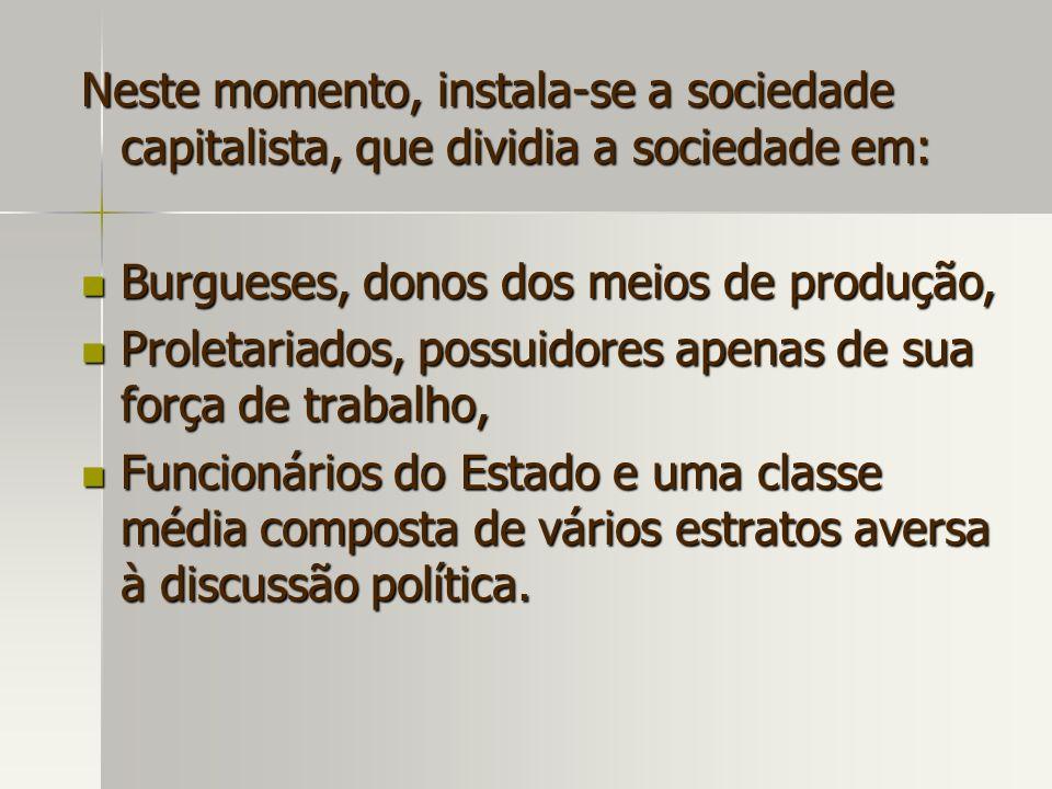 Neste momento, instala-se a sociedade capitalista, que dividia a sociedade em: