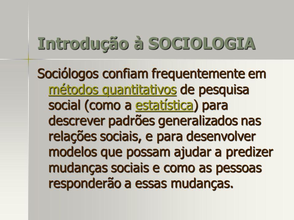 Introdução à SOCIOLOGIA