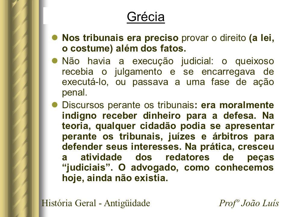 GréciaNos tribunais era preciso provar o direito (a lei, o costume) além dos fatos.