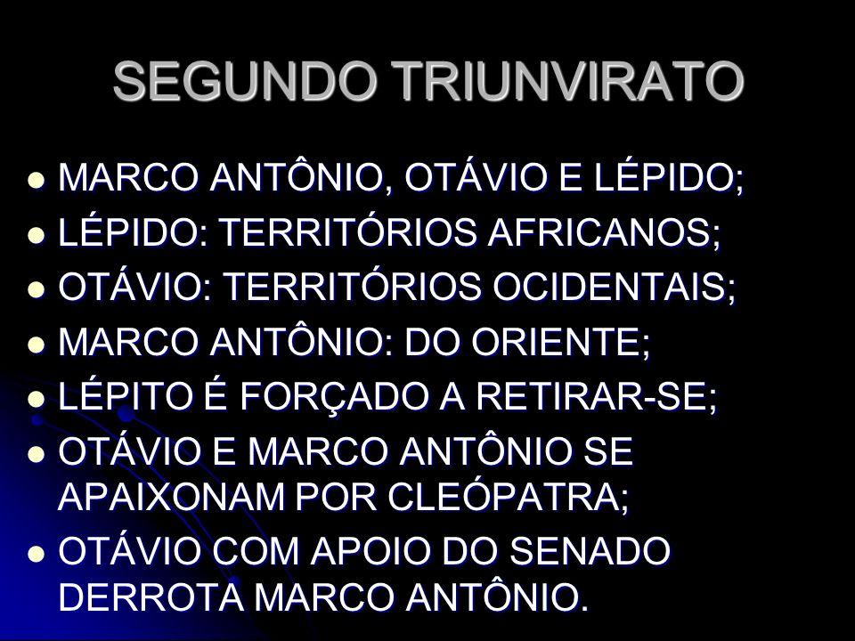 SEGUNDO TRIUNVIRATO MARCO ANTÔNIO, OTÁVIO E LÉPIDO;