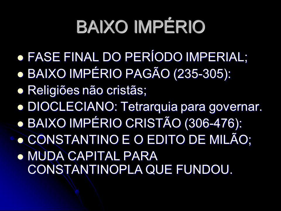 BAIXO IMPÉRIO FASE FINAL DO PERÍODO IMPERIAL;