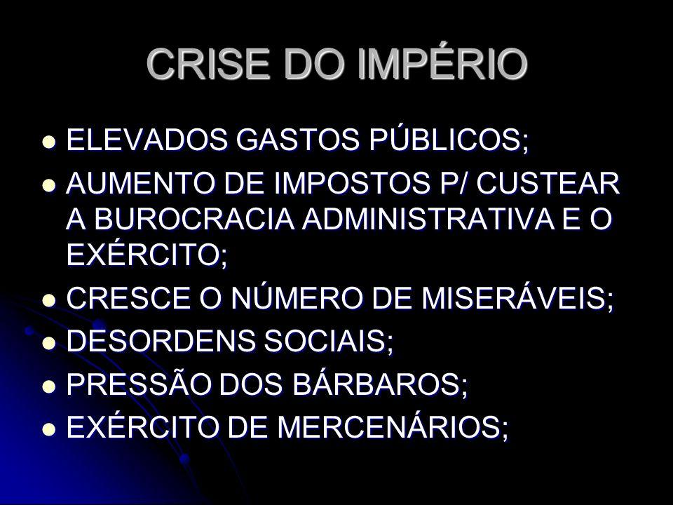 CRISE DO IMPÉRIO ELEVADOS GASTOS PÚBLICOS;