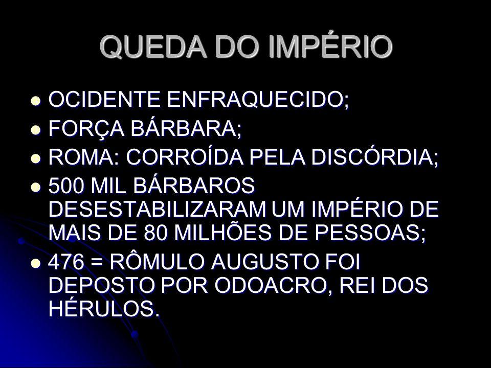 QUEDA DO IMPÉRIO OCIDENTE ENFRAQUECIDO; FORÇA BÁRBARA;