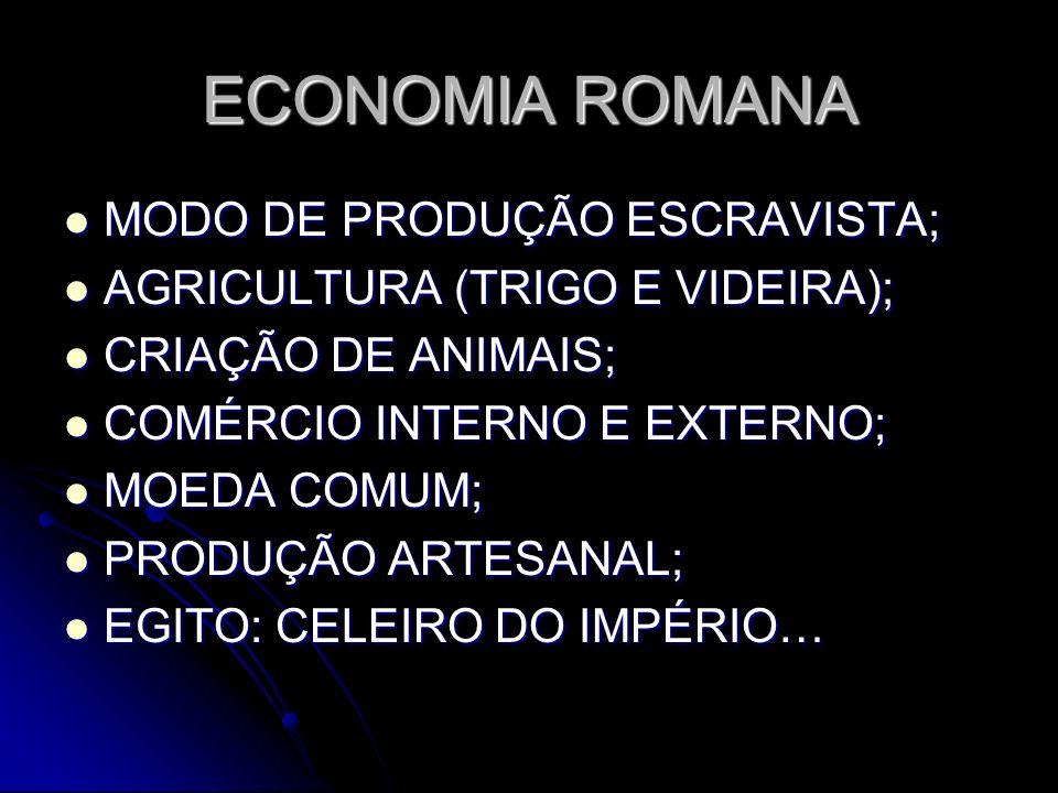 ECONOMIA ROMANA MODO DE PRODUÇÃO ESCRAVISTA;