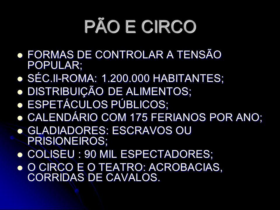 PÃO E CIRCO FORMAS DE CONTROLAR A TENSÃO POPULAR;