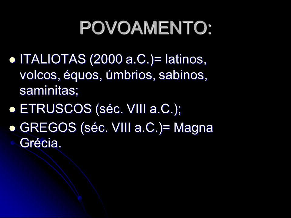 POVOAMENTO: ITALIOTAS (2000 a.C.)= latinos, volcos, équos, úmbrios, sabinos, saminitas; ETRUSCOS (séc. VIII a.C.);