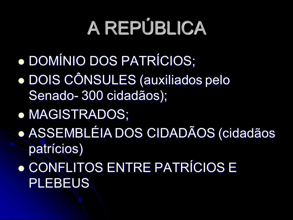 A REPÚBLICA DOMÍNIO DOS PATRÍCIOS;