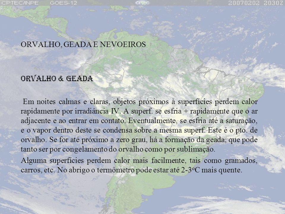 ORVALHO, GEADA E NEVOEIROS