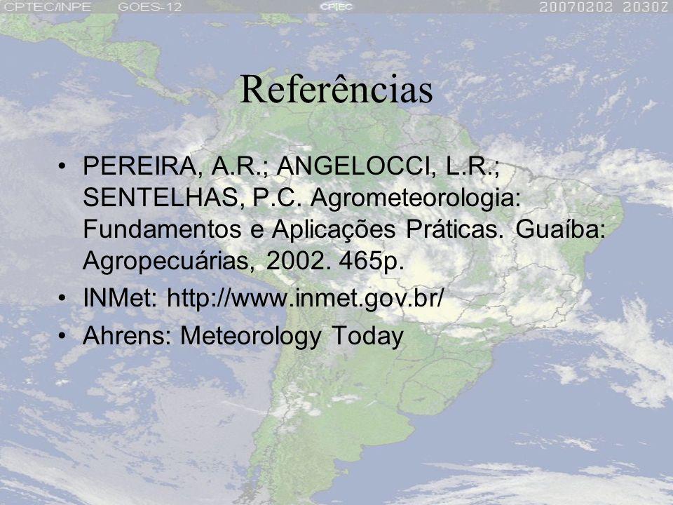 Referências PEREIRA, A.R.; ANGELOCCI, L.R.; SENTELHAS, P.C. Agrometeorologia: Fundamentos e Aplicações Práticas. Guaíba: Agropecuárias, 2002. 465p.