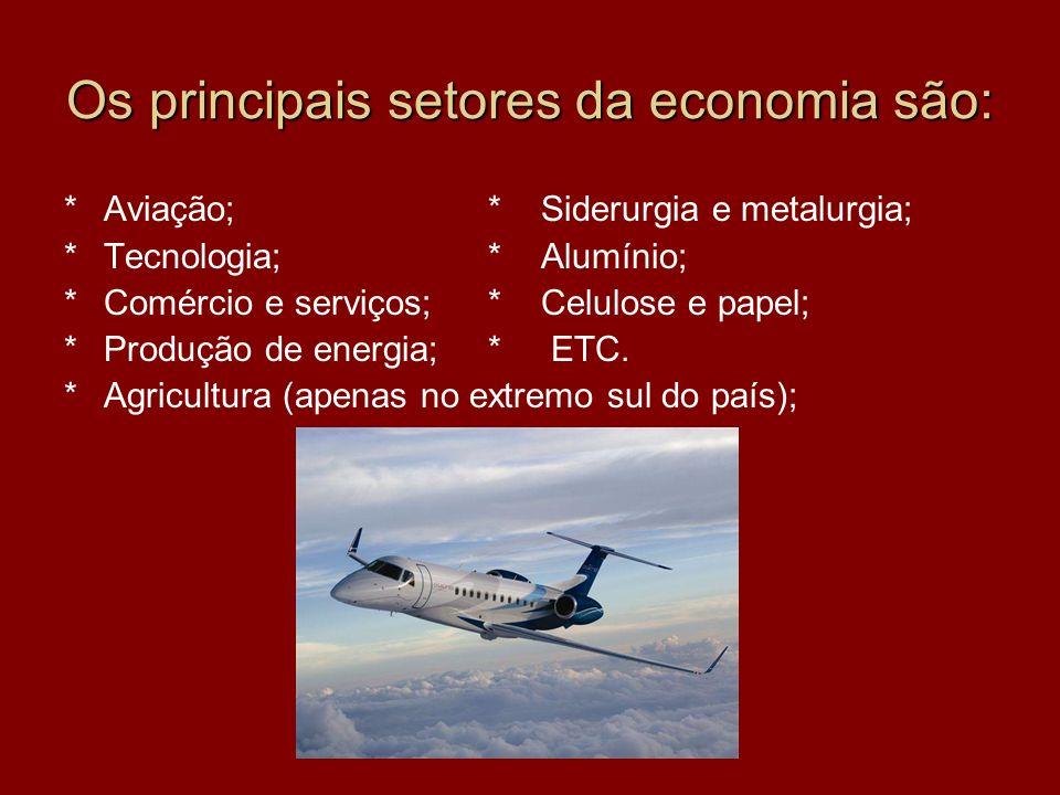 Os principais setores da economia são: