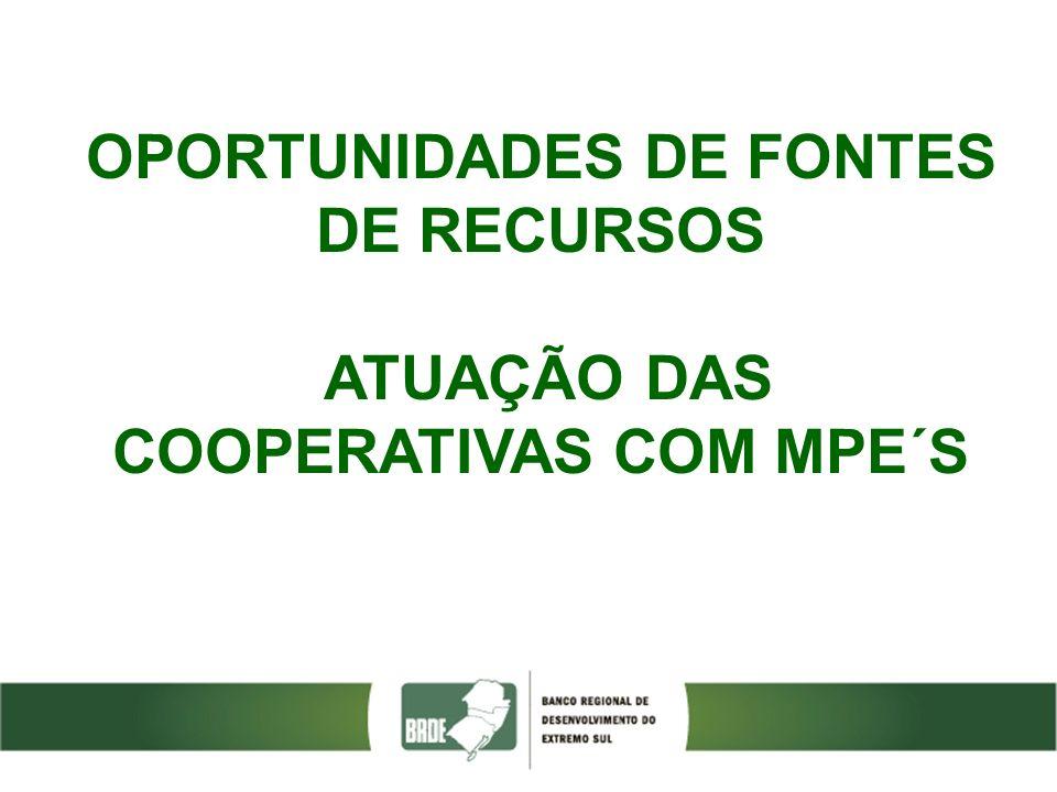 OPORTUNIDADES DE FONTES DE RECURSOS ATUAÇÃO DAS COOPERATIVAS COM MPE´S