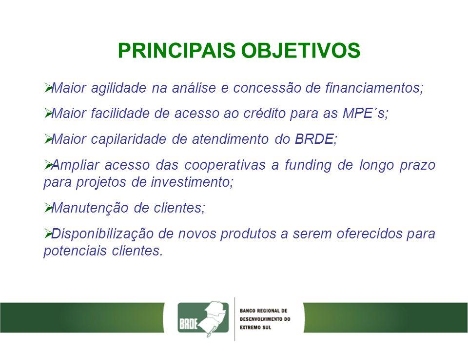 PRINCIPAIS OBJETIVOS Maior agilidade na análise e concessão de financiamentos; Maior facilidade de acesso ao crédito para as MPE´s;