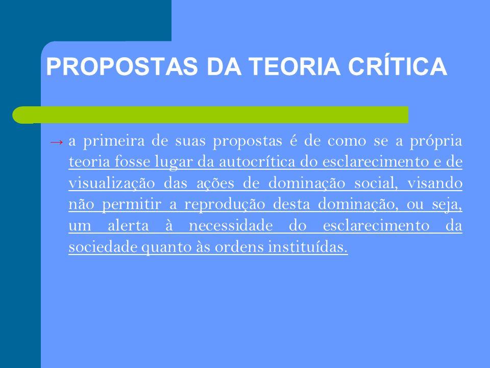 PROPOSTAS DA TEORIA CRÍTICA