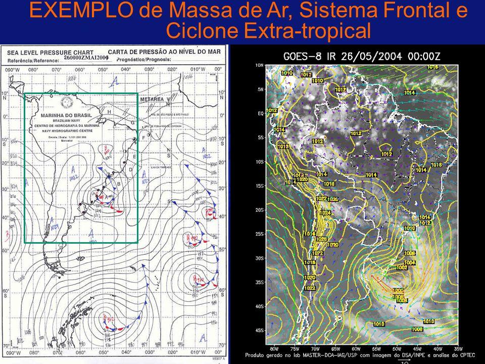 EXEMPLO de Massa de Ar, Sistema Frontal e Ciclone Extra-tropical