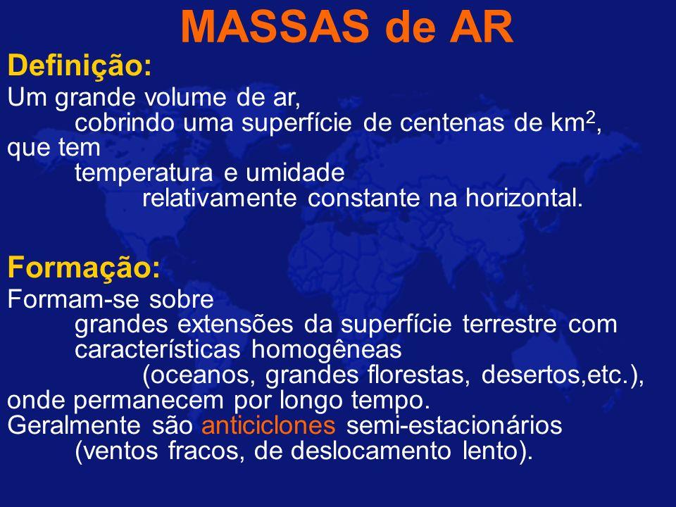 MASSAS de AR Definição: Formação: Um grande volume de ar,