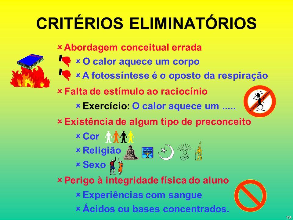 CRITÉRIOS ELIMINATÓRIOS