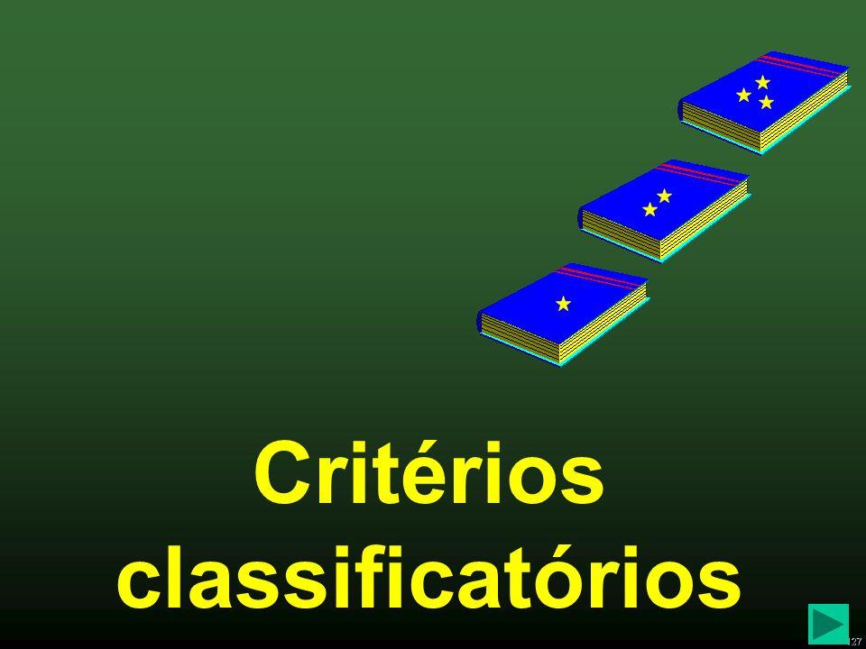 Critérios classificatórios