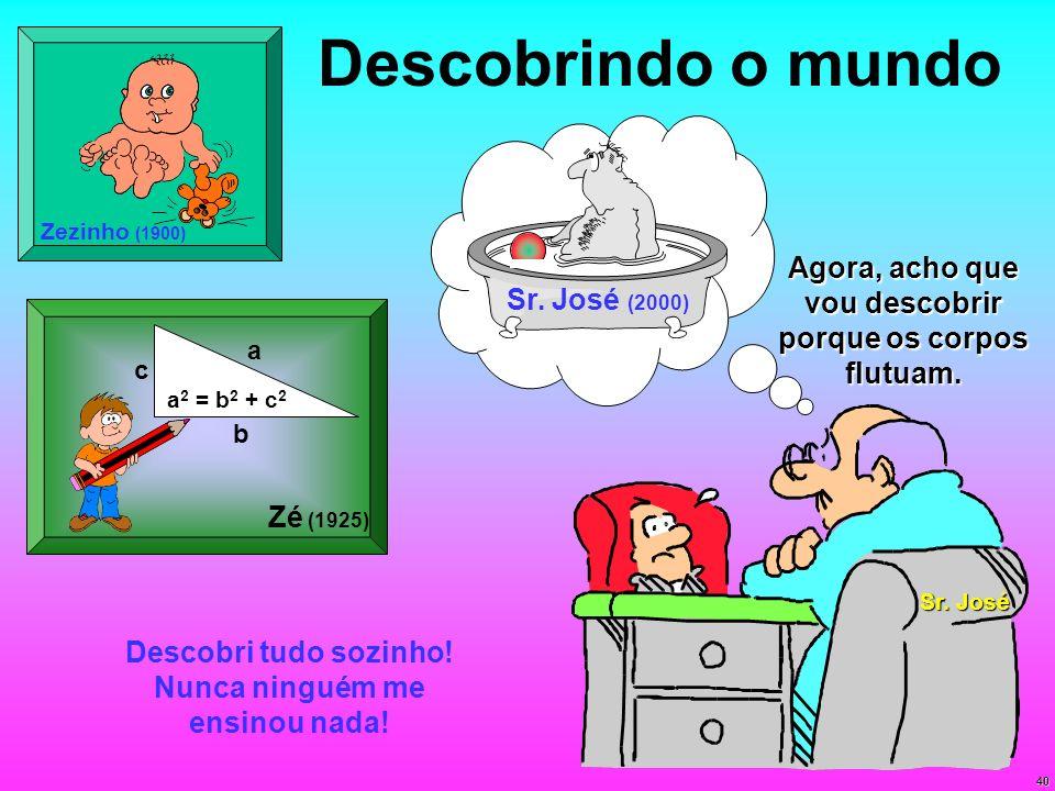 Zezinho (1900) Descobrindo o mundo. Sr. José (2000) Agora, acho que vou descobrir porque os corpos flutuam.