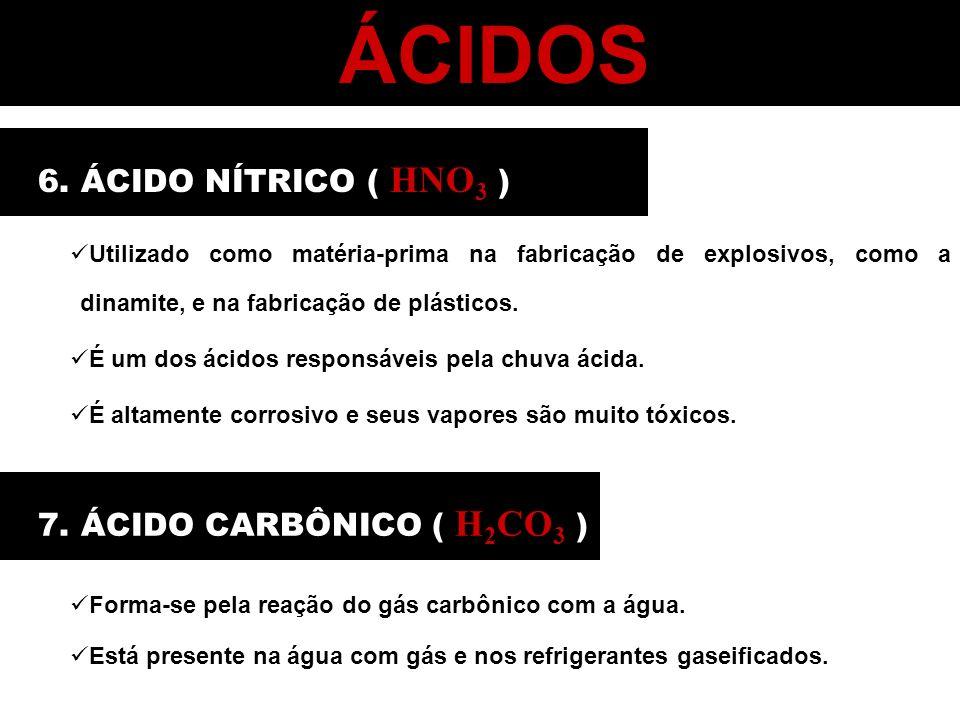 ÁCIDOS 6. ÁCIDO NÍTRICO ( HNO3 ) 7. ÁCIDO CARBÔNICO ( H2CO3 )