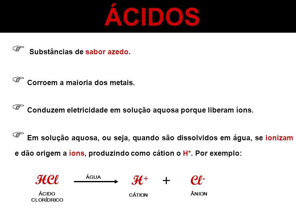 ÁCIDOS Substâncias de sabor azedo. HCl H+ Cl- +