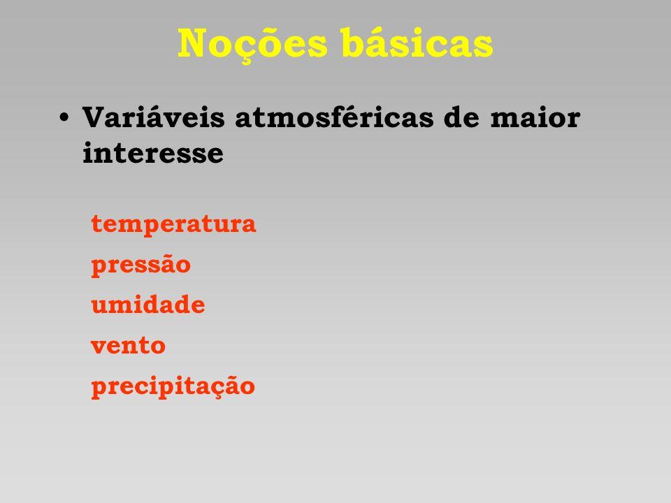 Noções básicas Variáveis atmosféricas de maior interesse temperatura