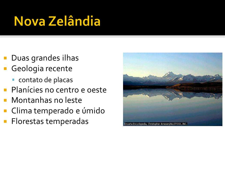 Nova Zelândia Duas grandes ilhas Geologia recente